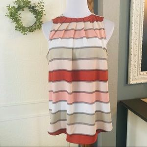 Ann Taylor Coral/Cream Stripe Sleeveless Blouse